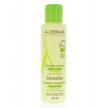A-DERMA Exomega BB gel lavant émollient flacon 500ml - Illustration n°1
