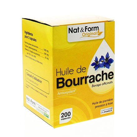 NAT & FORM Huile de Bourrache 200 capsules - Illustration n°1