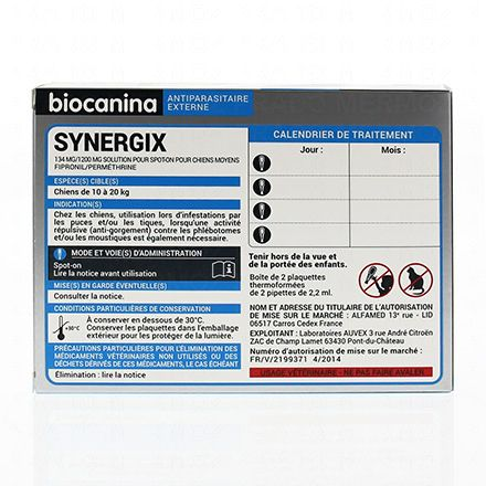 BIOCANINA Synergix antiparasitaire externe chien moyen - Illustration n°2