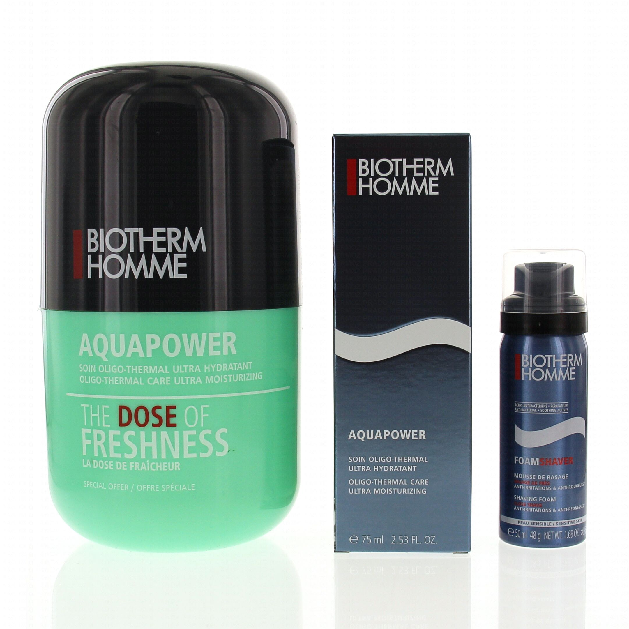 biotherm coffret homme 39 the dose of freshness 39 aquapower soin oligo thermal ultra hydratant. Black Bedroom Furniture Sets. Home Design Ideas