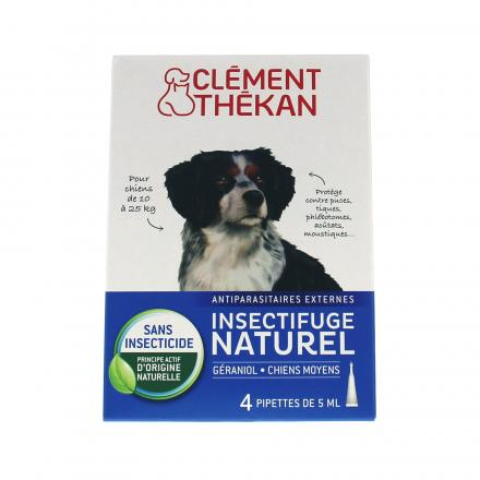 CLÉMENT THEKAN Spot-on insectifuge naturel chien moyen 4 pipettes de 2.5ml - Illustration n°1