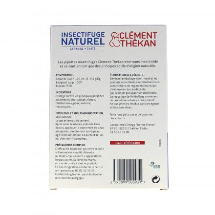 CLEMENT THEKAN Spot-on insectifuge naturel chat 4 pipettes de 2.5ml - Illustration n°2