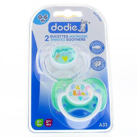 DODIE Duo Sucettes 0-6 mois anatomiques silicone REF A31 - Illustration n°1