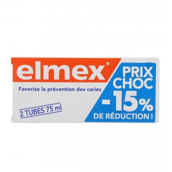 ELMEX Dentifrice protection caries lot de 2 tubes 75ml - Illustration n°1