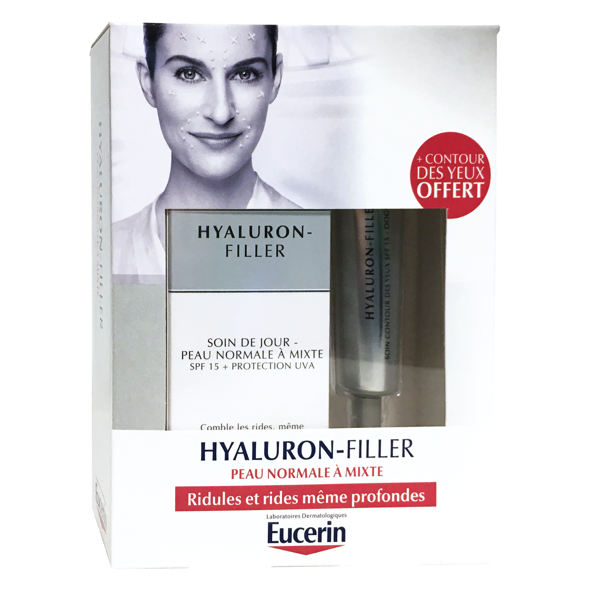 eucerin coffret hyaluron filler soin de jour peau normale mixte 50 ml soin contour des yeux. Black Bedroom Furniture Sets. Home Design Ideas