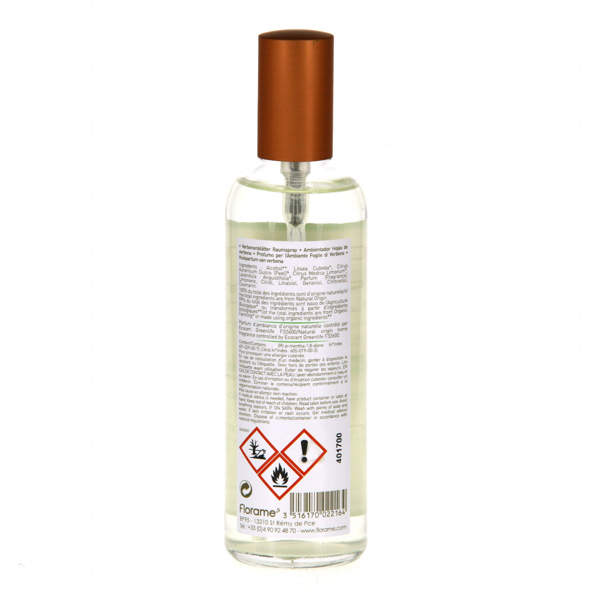 florame parfum d 39 ambiance feuille de verveine flacon 100ml parapharmacie en ligne prado mermoz. Black Bedroom Furniture Sets. Home Design Ideas