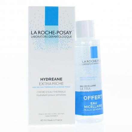 LA ROCHE-POSAY Hydreane extra riche tube 40ml + Eau micellaire ultra 50ml OFFERTE - Illustration n°1