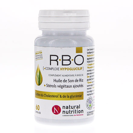 NATURAL NUTRITION R.B.O huile de son de riz pot de 60 capsules - Illustration n°1
