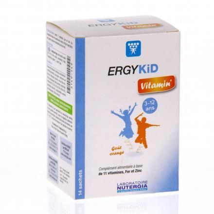 NUTERGIA Ergykid Vitamin' boîte 14 sachets goût orange - Illustration n°1