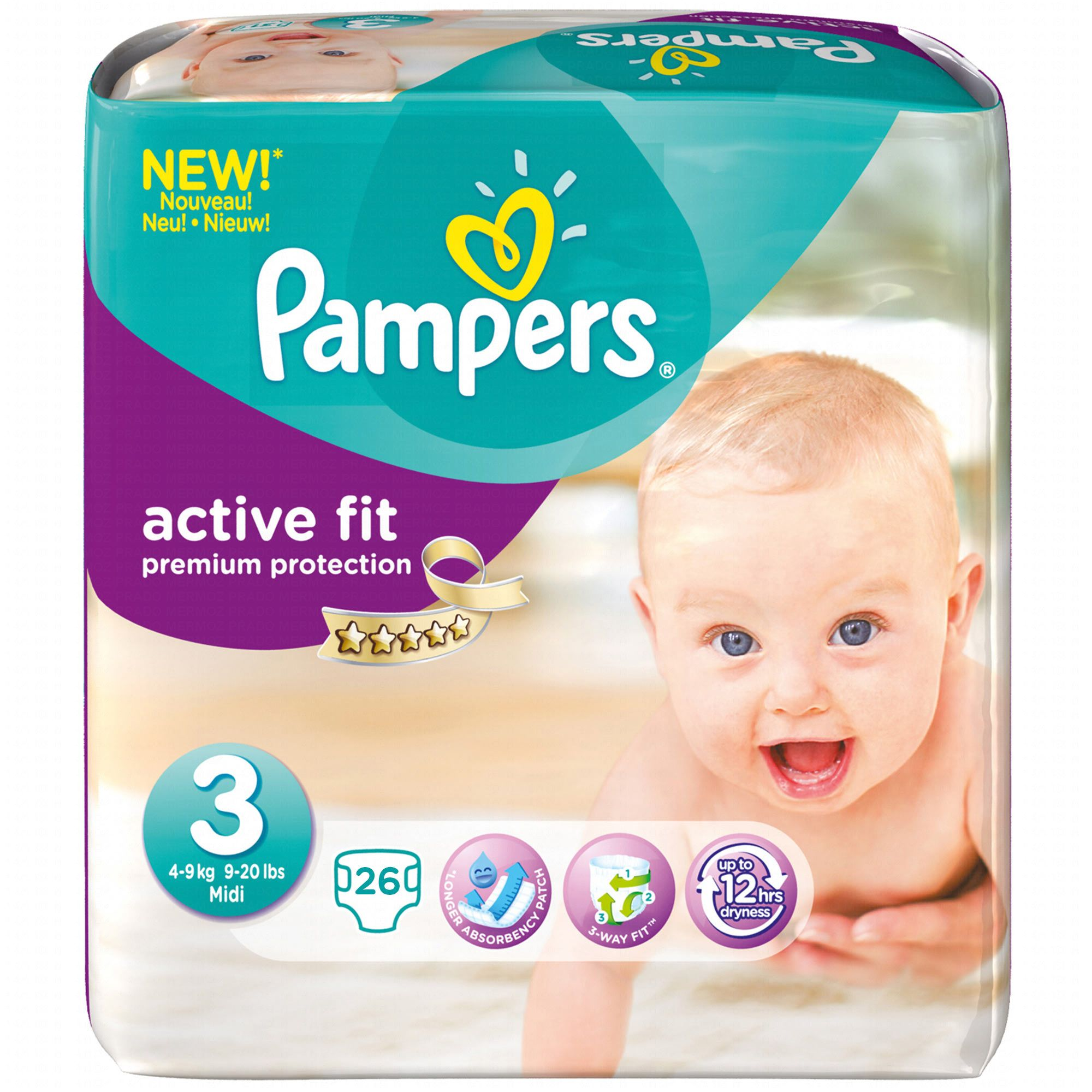pampers couches active fit taille 3 4 9 kg x 26. Black Bedroom Furniture Sets. Home Design Ideas