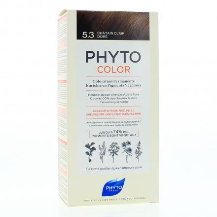 PHYTO Color n°5.3 CHATAIN CLAIR DORE coloration permanente enrichie en pigments végétaux - Illustration n°1