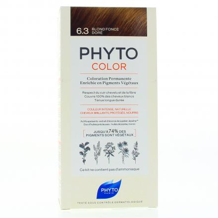 PHYTO Color n°6.3 BLOND FONCE DORE coloration permanente enrichie en pigments végétaux - Illustration n°1