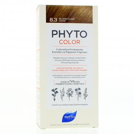 PHYTO Color n°8.3 BLOND CLAIR coloration permanente enrichie en pigments végétaux - Illustration n°1