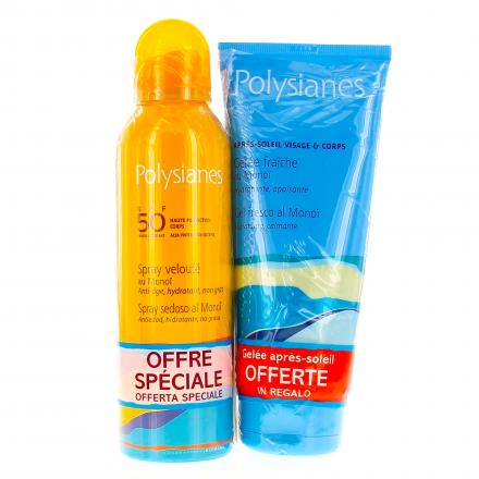 POLYSIANES Spray velouté SPF50 spray 150ml + Gelée après soleil tube 200ml OFFERTE - Illustration n°1