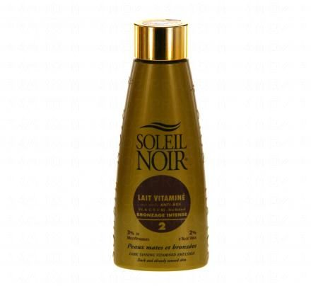 SOLEIL NOIR Lait vitaminé bronzage intense SPF 2 flacon 150m - Illustration n°1