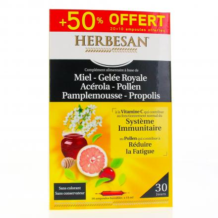 SUPER DIET Herbesan Propolis 30 ampoules 15ml  - Illustration n°1