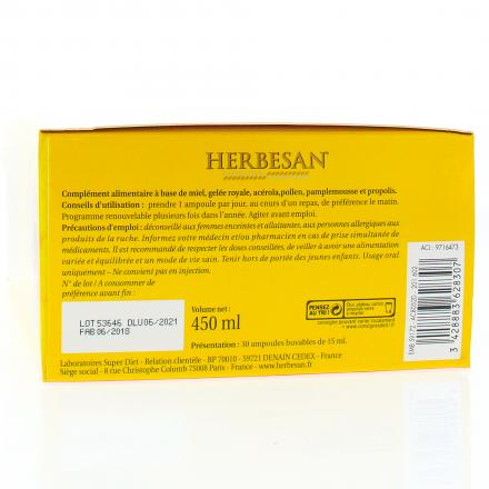 SUPER DIET Herbesan Propolis 30 ampoules 15ml  - Illustration n°3