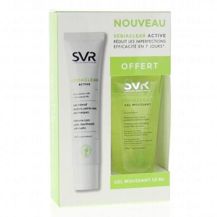 SVR Sebiaclear active crème 40ml + Gel moussant 50ml OFFERT  - Illustration n°1