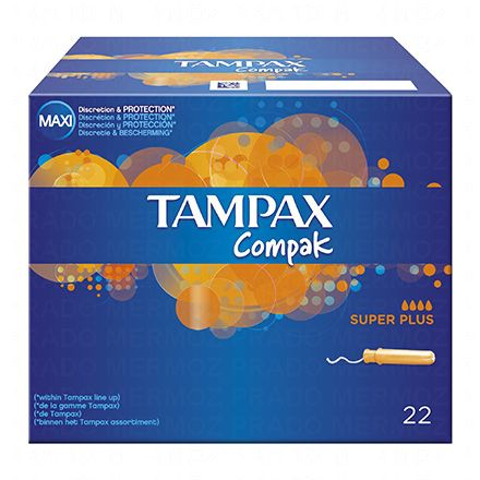 TAMPAX Compak super plus avec applicateur x 22 tampons