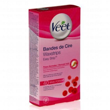 VEET Bandes cire froide corps peaux normales  x 40 + 4 lingettes  - Illustration n°1