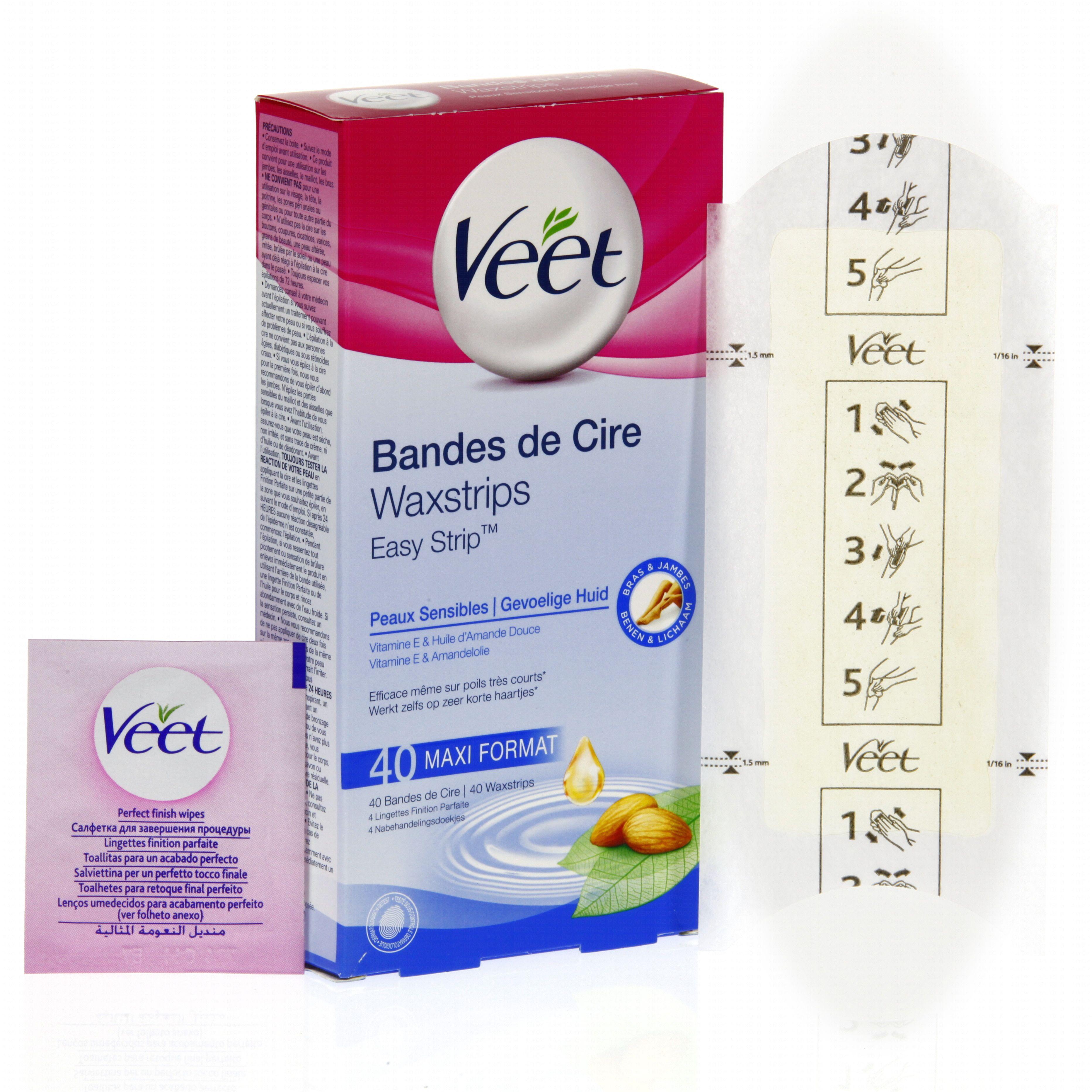 VEET Bandes de cire froide corps peaux sensibles x 40 + 4