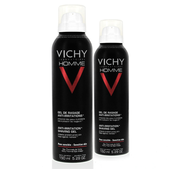 VICHY Homme gel de rasage anti-irritations (lot de 2 aérosols x 150ml)