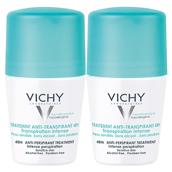 VICHY Déodorant traitement anti-transpirant 48h transpiration intense (lot de 2 x 50ml)