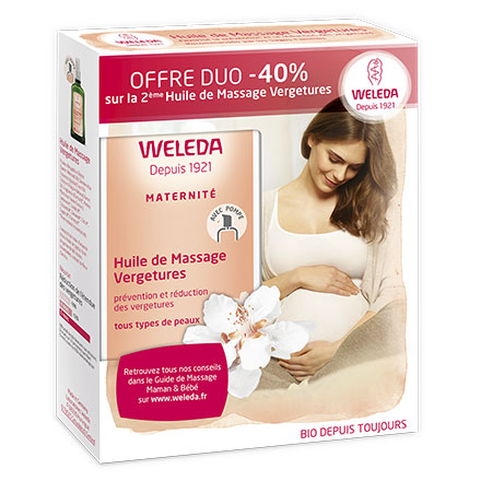 WELEDA Huile de massage vergetures lot de 2 flacons de 100ml - Illustration n°1