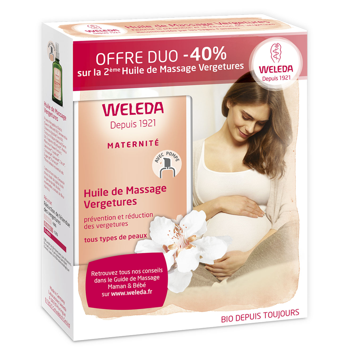 WELEDA Huile de massage vergetures lot de 2 flacons de 100ml - Illustration n°2