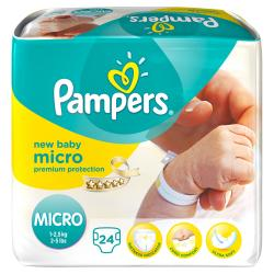 PAMPERS Couches new baby micro (1 à 2.5kg) x 24