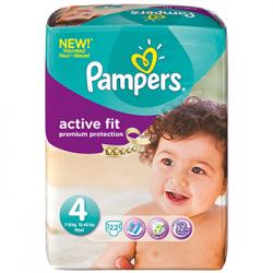 PAMPERS Couches active fit taille 4 (7 à 18kg) x 22