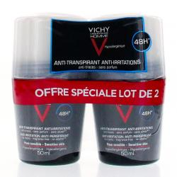 VICHY Homme déodorant peau sensible lot de 2 roll on 50ml