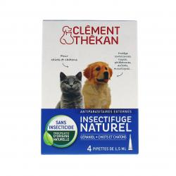 CLÉMENT THÉKAN Spot-on chiot / chaton insectifuge naturel 4 pipettes de 2.5ml