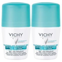 VICHY Déodorant traitement anti-transpirant 48h anti-traces blanches & jaunes lot de 2 roll'ons x 50ml