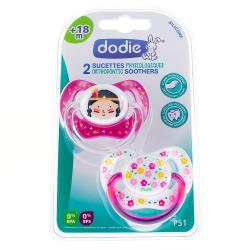 DODIE Duo Sucettes +18 mois physiologique silicone fille REF P51
