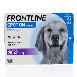 FRONTLINE Spot on chiens 20 - 40kg pipettes 6x2,68ml