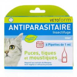 VETOFORM Insectifuge/Antiparasitaire chat pipettes 6 pipettes des 1ml