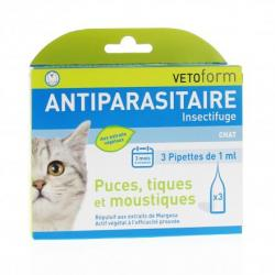 VETOFORM Insectifuge/Antiparasitaire chat pipettes 3 pipettes de 1ml